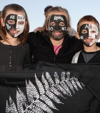 Face painted New Zealand Rugby supporters