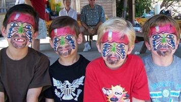 Kids with captain Jack pirate eyes painted on their faces