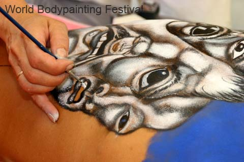 Body painting by brush