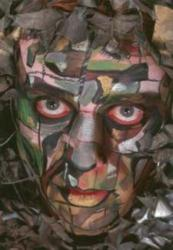 Camouflage Face Painted by Grimas