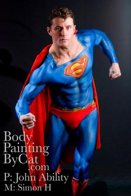 Superman bodypaint by Cat Finlayson