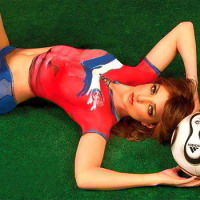 Chilean soccer fan body paint