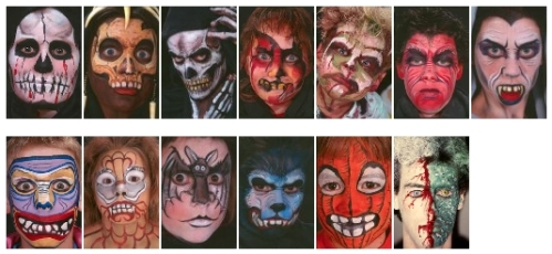 Horror face painting designs