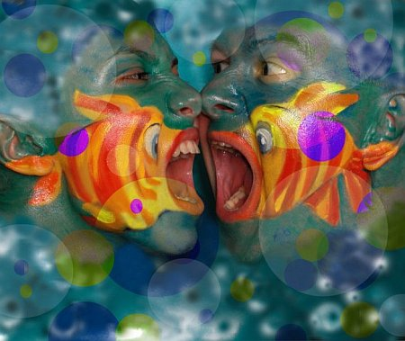 fish eat each other face painting