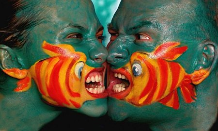 fish fight face paint