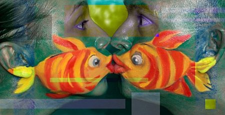 fish side kiss face paint