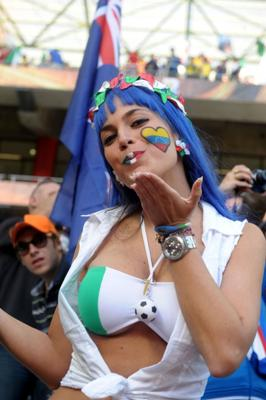 Italian fan blows a kiss