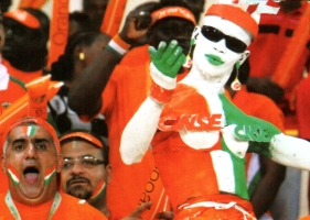 Ivory Coast body painted soccer fans