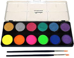 kryvaline metallic and neon face paint pallettes