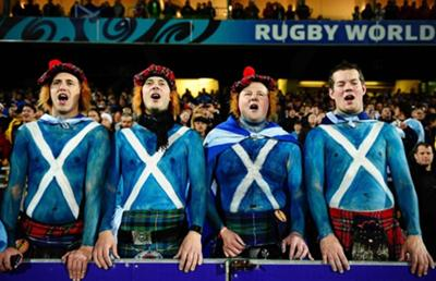 Scottish body painted fans