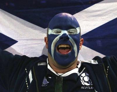 Scotland rugby face painted fan