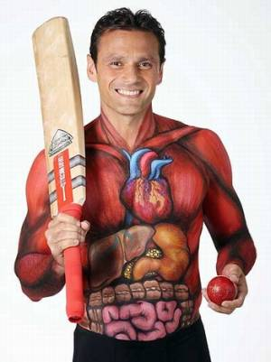 sports body painting cricketer