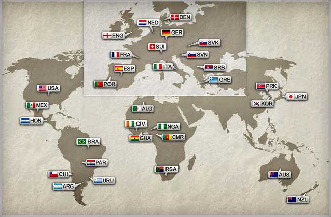 Soccer world cup 2010 teams