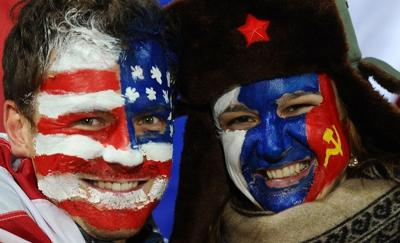 USA versus Russia Face Painting