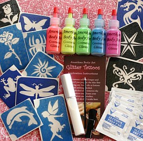 Click to buy Amerikan Body Art Glitter Tattoo Kits - UV/Blacklight (5 Colors)
