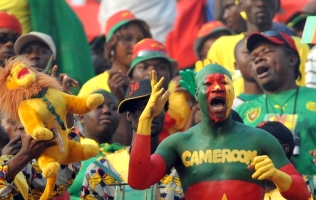 Cameroon football fans body paint