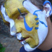 Face Painting by Duncan Stewart (football boot fan face)