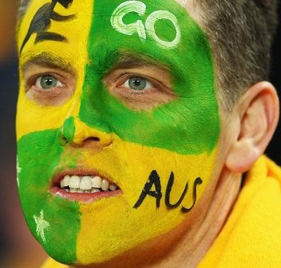 Australian fan face painted