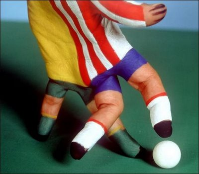 Soccer Players painted on hands